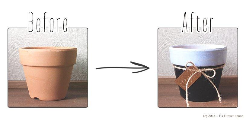 素焼き鉢のペイントビフォーアフター